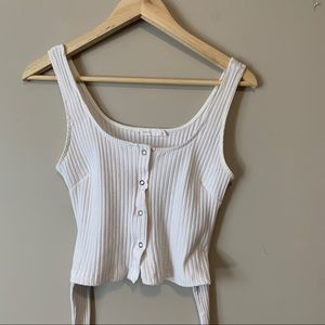 LUSH   Ribbed cropped tank with ties